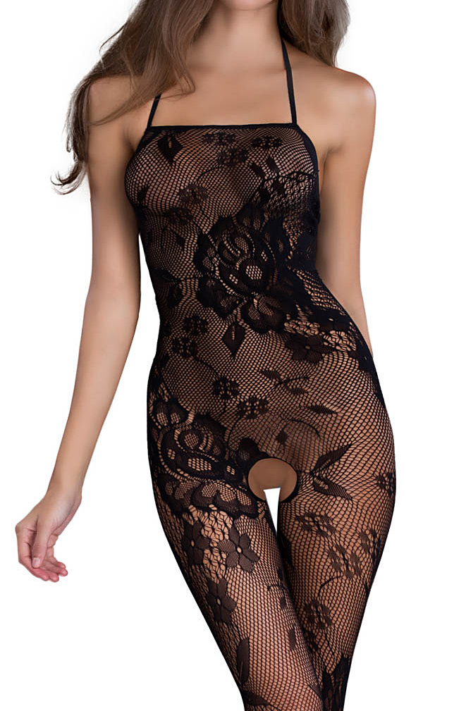 A black mesh and lace bodystocking is a nice way to add a little spice to Saturday night.